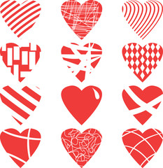 Red hearts set, isolated on white background, vector illustration.