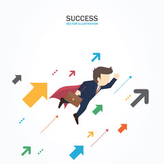 Businessman flying up with arrow. Success Concept.