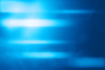 Abstract blue hexagon and lines glowing technology background