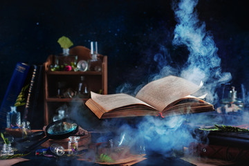 Flying magical book with smoke