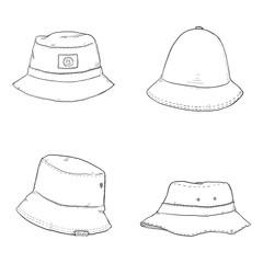 Vector Set of Bucket Hats