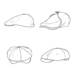 Vector Set of Sketch Retro Tweed Caps