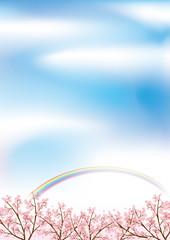 桜 青空と虹の背景イメージイラスト