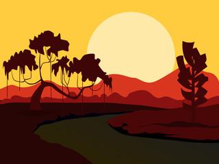 Vector summer background. Evening landscape.
