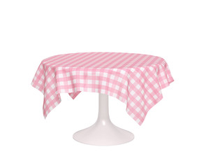 Round table with pink checkered tablecloth