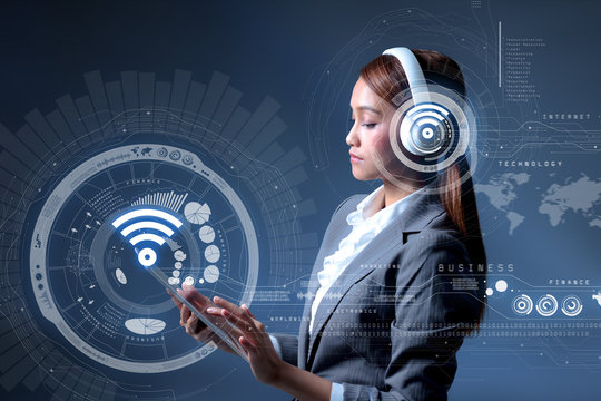 young business woman and Internet of Things concept, IoT, FinTech, wearable devices, wireless communication network, information communication technology, bluetooth connection, abstract image visual