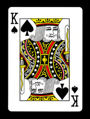 King of spades playing card, isolated on black background.