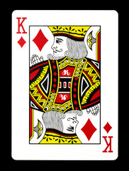 King of Diamonds playing card, isolated on black background.