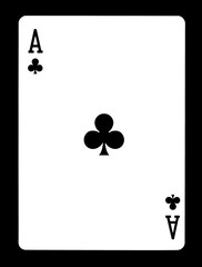 Ace of clubs playing card, isolated on black background.