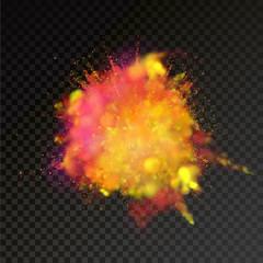 Paint powder color explosion on transparent background
