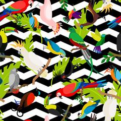 Fashion parrots seamless pattern