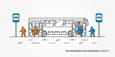 Bus boarding and debussing vector illustration. Public transport with driver and people (passengers), who come in and come out bus.