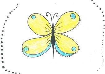 Beautiful yellow butterfly. Handmade