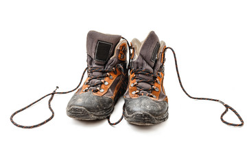 old worn shoes with laces isolated