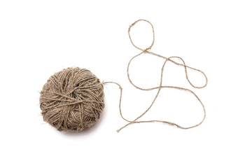 A tangled ball of hemp cord isolated