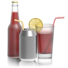 Fresh drink, bicchiere bottiglia lattina..Bevanda rinfrescante isolata su sfondo bianco..