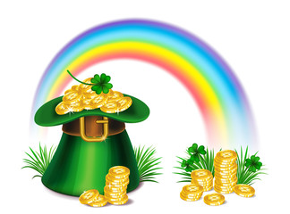 St. Patrick's Day green leprechaun hat with clover, gold coins and rainbow, St.Patrick's Day symbol. St.Patrick's Day background. Vector illustration.