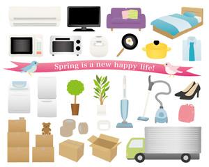 新生活の家電と家具 引越しのイラスト素材セット