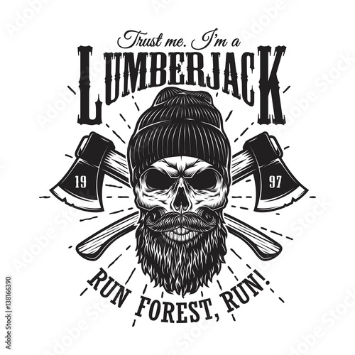 Vintage Hipster Lumberjack Emblem With Crossed Axes Behind The Skull In Beanie Beard And