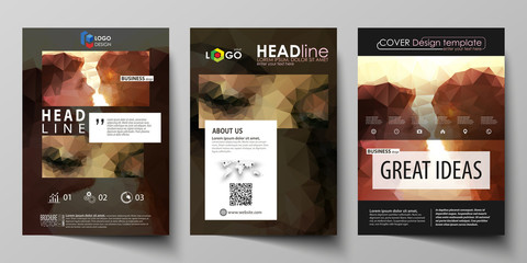 Business templates for brochure, magazine, flyer. Cover design template, abstract vector layout in A4 size. Romantic couple kissing. Beautiful background. Geometrical pattern in triangular style.