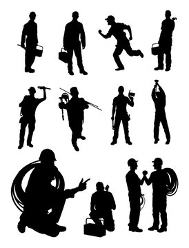 Plumber gesture silhouette. Good use for symbol, logo, web icon, mascot, sign or any design you want.