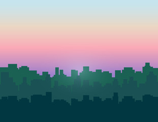 Morning sky above city buildings. Vector illustration.