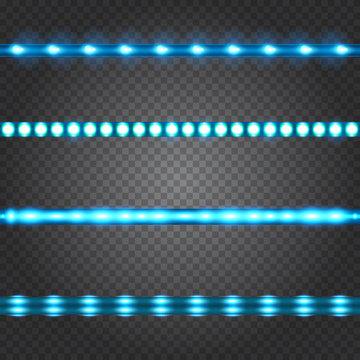 Set of realistic neon or led glowing light stripes on transparent background. Horizontal seamless objects.