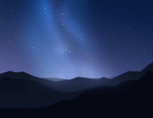 Beautiful night sky over mountain. Vector illustration.