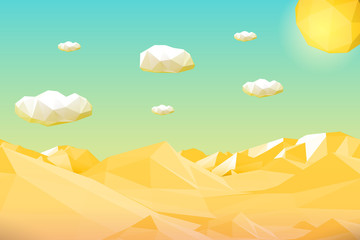 Abstract polygonal yellow desert or cliff landscape with mountains, hills, clouds and sun. Modern geometric vector illustration.