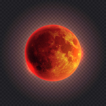 Realistic detailed full red moon isolated on transparent background. Vector illustration. Easy to use.