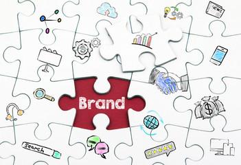 Brand concept. White last piece of a Puzzle