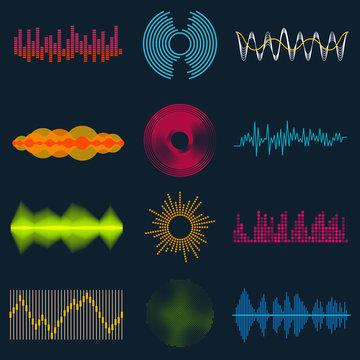 Set of music or sound waves. Audio equalizer technology, pulse musical. Vector illustration