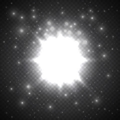Shining transparent beautiful vector star dust sparks in explosion. Glitter particles background effect. Sparkling texture for design template.