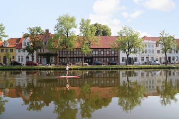 Lübeck Altstadt, Trave, SUP,  Architektur