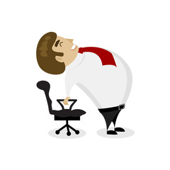 Man in business clothes is doing exercises for back on the office chair. Businessman in healthy backbend pose.
