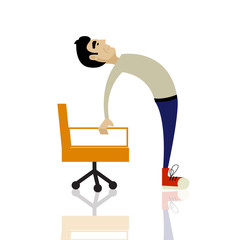 Man in sports clothes is doing exercises for back on the office chair. Businessman in healthy backbend pose.