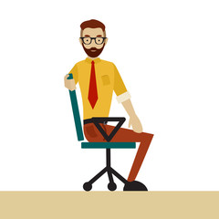Man in business clothes is doing exercises for back on the office chair. Businessman in healthy twist pose.