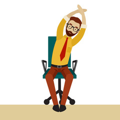 Man in business clothes is doing exercises for back on the office chair. Businessman in healthy tilt arm and body to the side pose.