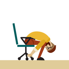 Man in business clothes is doing exercises for back on the office chair. Businessman in healthy forward bend pose.