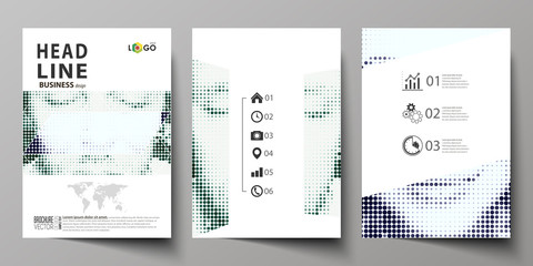Business templates for brochure, magazine, flyer, booklet. Cover design template, Abstract layout in A4 size. Halftone dotted background, retro style grungy pattern, vintage texture. Halftone effect