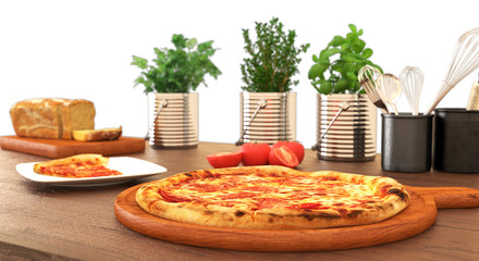 Pizza on wooden table isolated on white
