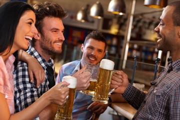 Friends having fun in bar