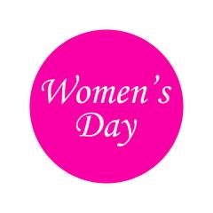 Icono plano Women's Day en circulo rosa