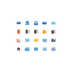 Set of Officel Related Vector Line Icons. Contains such Icons as Book,Notebook,Notepad,Pencil,Mail,Message,Home,WEB. Fully Editable. Neatly Done.
