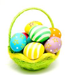 Perfect colorful handmade easter eggs in the basket