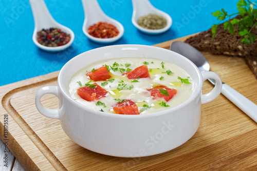 "Smoked salmon and cream cheese soup"" Stock photo and royalty-free ..."