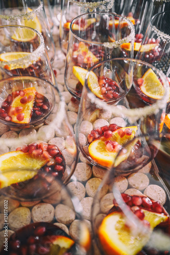 "Pomegranate seeds and orange slices"" Stock photo and royalty-free ..."