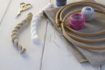 Embroidery tools with hoop and threads