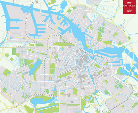 Vector color map of  Amsterdam, Netherlands. City Plan of Amsterdam