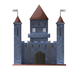 Ancient grey castle isolated in flat design. Vector illustration